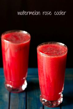 watermelon rose cooler - a light summer cooler made with watermelon, rose syrup and sabja seeds (sweet basil seeds) Juice Smoothie, Smoothie Drinks, Smoothie Recipes, Smoothies, Juice Drinks, Fruit Juice, Indian Drinks, Indian Desserts, Veg Recipes