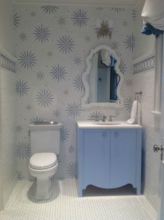 Remodeling your powder room? Think of your powder room as a blank palette, the perfect room to experiment with wallpaper patterns and bold colors. Don't be afraid to mix patters, textures and finishes, but also make sure you offset the space with a sufficient amount of lighting as well as white accents.