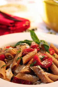 Balsamic pasta with tomatoes, basil and fresh mozzarella- Made