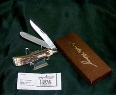 "Schrade 285UH Knife Pro Trapper 3-7/8"" closed 1980's Stag Appearance W/Packaging @ ditwtexas.webstoreplace.com"