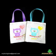 6 personalized owls themed birthday eco friendly mini party favor tote bags for boys and girls