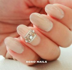 Nude, accent nail, rhinestones, tape, simple