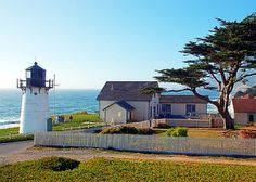 Point Montara Lighthouse Hostel: See the two blue doors side by side, behind the tree? The one on the left led to our room. Probably my favorite lodging place ever.