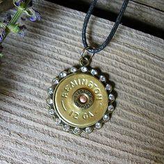 REMINGTON 12 Gauge Shotgun Shell Pendant | Rhinestone BLING Necklace | Gifts Under 25 | Hottest Fashion |   | Riveted | J27