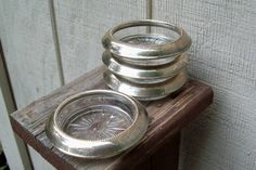Vintage sterling crystal coasters Frank M Whiting set of four drink coasters SALE