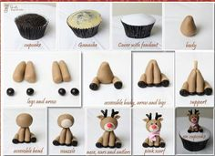Cupcake recipes 339247784403488060 - Fondant Reindeer Tutorial – Could be made a little larger with polymer clay and used as an ornament with small eye hook on top of head Source by alicevertefeuil Christmas Cake Decorations, Christmas Cupcakes, Fondant Christmas Cake, Christmas Cake Designs, Valentine Cupcakes, Easy Fondant Decorations, Christmas Cupcake Toppers, Christmas Baking, Christmas Crafts
