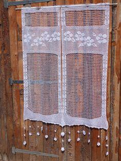rideau au crochet XXL ribambelle de fleurs : Textiles et tapis par foux-elle