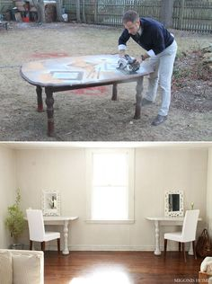Genius! Kids room! For homework and arts and crafts! Turn a broken table into TWO desks. | 41 Ways To Reuse Your Broken Things