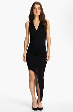 Bardot Asymmetrical Hem Draped Dress