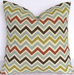 Blue Brown Chevron Pillow Cover - ANY SIZE - orange green Zigzag Zoomzoom Village decorative throw euro sham cushion contemporary 28 22 18