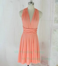 Light coral pink 38 infinity dress knee length convertible bridesmaid dress wrap on Etsy, $55.00