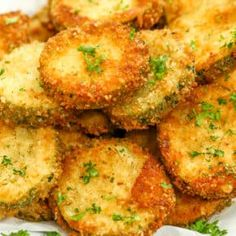 Fried Zucchini is the perfect thing to do with all that summer zucchini from your yard. It is sliced, coated in a breadcrumb mixture and fried until crispy! Large Zucchini Recipes, Roasted Zucchini Recipes, Veggie Recipes, Appetizer Recipes, Cooking Recipes, Healthy Recipes, Zoodle Recipes, Cabbage Recipes, Party Appetizers