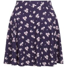 New Look Blue Ditsy Floral Print Skater Skirt ($19) ❤ liked on Polyvore featuring skirts, blue pattern, blue circle skirt, skater skirt, purple skirt, blue floral skirt and print skirt