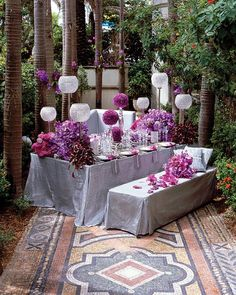 Love the platinum/silver…emerald green would look amazing Grace Ormonde Wedding Style Platinum Member Antique mirror and cake stands featuring arrangements of purple, aubergine and eggplant carnations and cattleya orchids set on platinum.