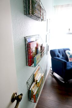 wire baskets to hold books