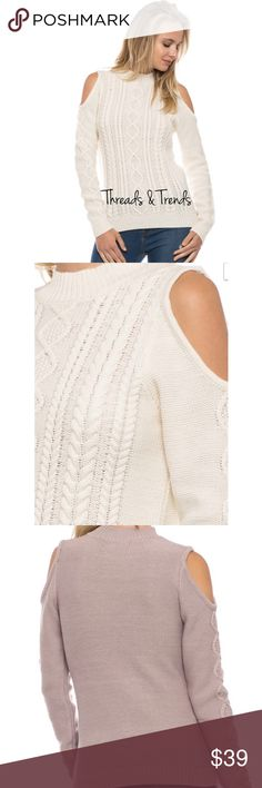 Cable Knit Cold Shoulder Sweater Ivory cable knit cold shoulder sweater. Made of acrylic/poly blend. Size S, M, L Threads & Trends Sweaters