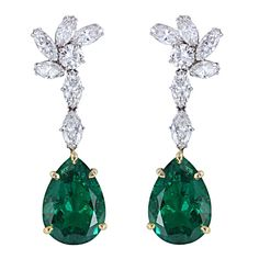 Very Fine Colombian Emerald & Diamond Earrings
