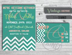 Vintage Chevron Wedding Invitation by PaperStained on Etsy, $40.00