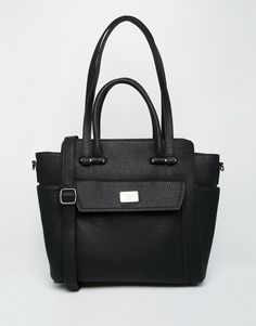 Marc B Structured Tote Bag with Double Handle & Cross Body Strap