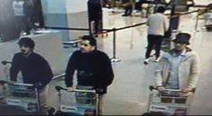 First picture: These three men, pretending to be air passengers, are believed to the terrorists who have carried out the Brussels airport bombing, according to a leaked photograph in the Belgian media