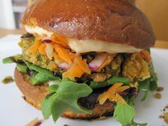 Chickpea Veggie Burger Recipe. I'm so hungry right now and this is just really laying it on thick!