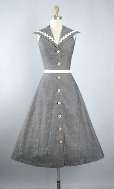 Vintage 40s 50s Dress   1950s Cotton Denim Sundress Dark Smoke   womensfashionvintage40s 401346686b5e