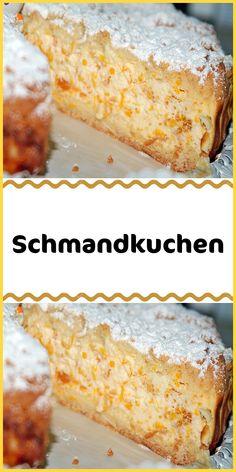 Schmandkuchen Ingredients For the dough: 125 g margarine 1 egg (s) 1 pack vanilla sugar 150 g sugar 350 g flour 2 tsp baking powder For the topping: 4 cups sour cream 200 g 3 can / s mandarin (s Fish Recipes, Cake Recipes, Dessert Recipes, Mini Desserts, Custard Powder, Sour Cream Cake, Gateaux Cake, New Cake, Cinnamon Cream Cheeses