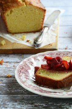 Vanilla-Almond Pound Cake Recipe with Easy Strawberry-Rose Sauce