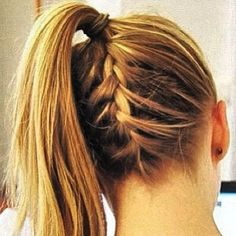 french braided high ponytail