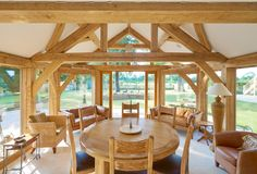 Cambridgeshire village home - a lovely dining area with vaulted ceiling and large surrounding windows for natural lighting. Types Of Timber, Conservatory Design, Timber Buildings, Timber Frame Homes, Planning Permission, Exposed Beams, Dining Area, Dining Rooms, Home Projects