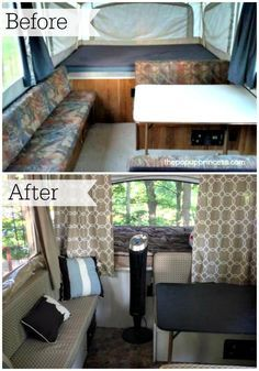 Amazing pop up camper remodel.  This gal did amazing things on a small budget!