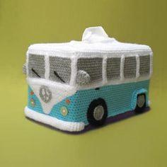 Tissue Box Cover VW (inspired) Bus crochet pattern by Millionbells