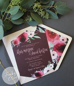 Geometric Boho Dark Watercolor Floral Wedding Invitation