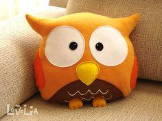 ORANGE OWL CUSHION RainbOWL -Decorative plush pillow - by LOVELIA on Etsy