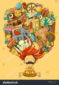 Illustration about Vector illustration of dream and thought of Indian man. Illustration of country, male, august - 68885738 Art And Illustration, Graphic Design Illustration, Doodle Art Drawing, Art Drawings Sketches, Art Pop, Incredible India Posters, Amazing Photos, Indian Folk Art, Indian Man