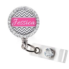 Retractable ID Badge Reel - Personalized Bling Rhinestone Gray and Hot Pink Chevron Badge ID Reel, Bling Badge Reel - 0206 on Etsy, $10.95
