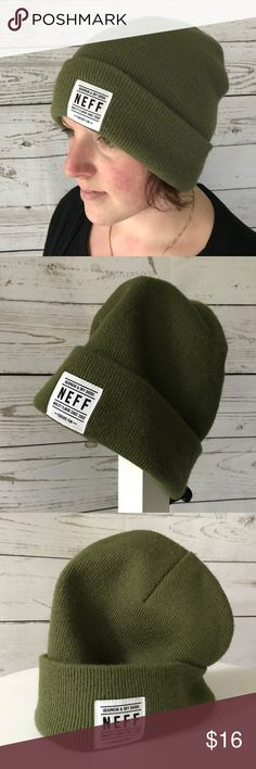 Neff Olive Green Beanie Tightly knit olive green/army green beanie by Neff. Neff Accessories Hats