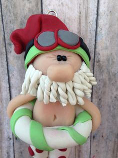Santa Clause Ornament Swimming Santa ornament by CalledandChosen