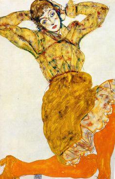 1914 Egon Schiele. Femme aux bas orange