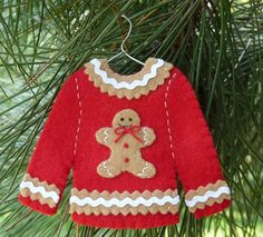 Gingerbread Man Ugly Christmas Sweater Felt Christmas Ornament