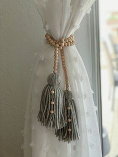 Wood beads and tassel garland wood bead garland boho home decor country home decor tassel garland long tassel garland bead beads boho country decor garland home long tassel wood diy foyer decorating ideas for small foyers and apartment entryways Wood Bead Garland, Beaded Garland, Diy Tassel Garland, Wood Wreath, Curtain Ties, Curtain Tie Backs Diy, Creation Deco, Diy Décoration, Easy Diy