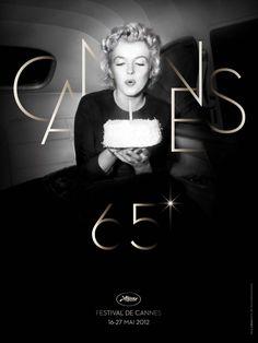 Affiche pour le Festival de Cannes 2012 réalisée par L'agence Bronx !!! La photo choisie pour l'affiche représente l'actrice soufflant une bougie sur un gâteau. L'agence Bronx (Paris) a réalisé l'affiche à partir d'une photo d'Otto L.Bettmann et signera toute la création graphique du Festival 2012, précise le Festival
