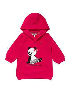 Girls Hooded Fleece Sweater Dress With Panda