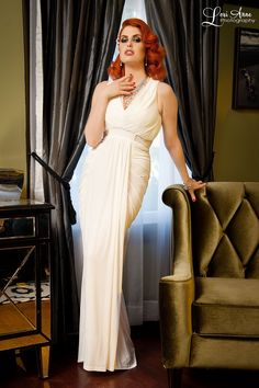 Athena Gown in Ivory || Pin Up Girl Clothing