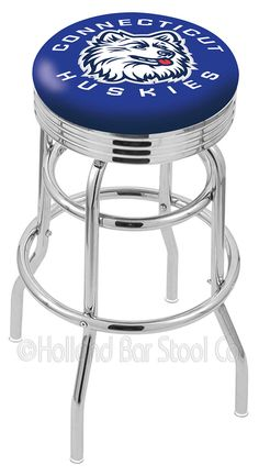 Connecticut Huskies L7C3C Chrome Double-Ring Swivel Bar Stool w/ Accent Ring