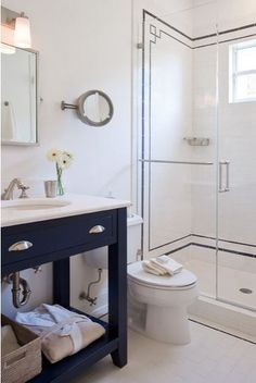 colorful bathroom vanities - navy blue vanity, Ruth Richards, via Houzz