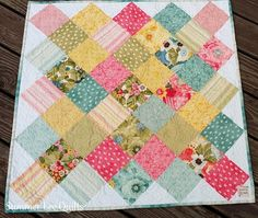 Modern Patchwork Baby Quilt with Pink Turquoise Yellow