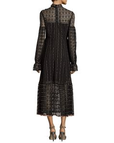 Nanette Lepore Long-Sleeve Embroidered Tie-Front Midi Dress, Black/Pearl