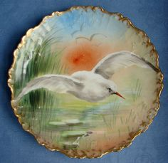 "B & H LIMOGES FRANCE HANDPAINTED PORCELAIN PLATE SEAGULL BIRD & REEDS ~ 8 1/2"" #BHLimgoes"