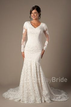 long sleeved lace modest wedding gowns at LatterDayBride, the Armstrong in ivory